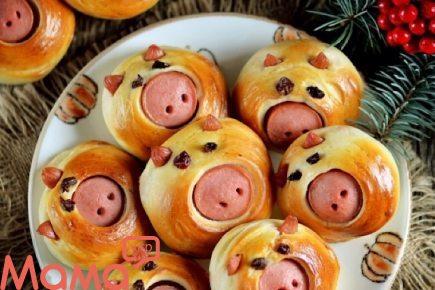 Обалденние булочки «Поросята» з сосисками