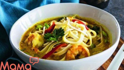 Суп з рисової локшини з креветками