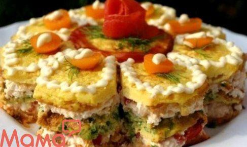 Новорічний закусочний торт з сиром